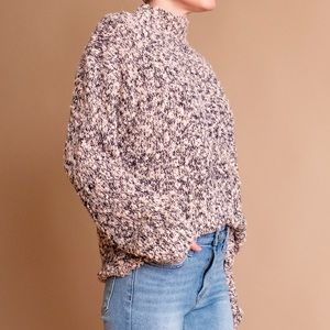 Vintage Sweaters - Vintage 80s pink nubby knit boucle mock sweater